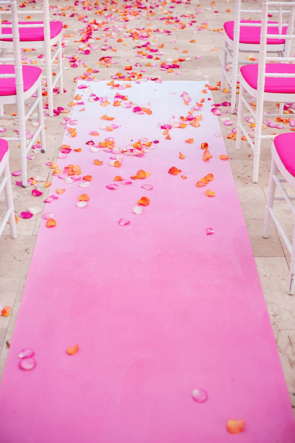 Pink ombre aisle runner