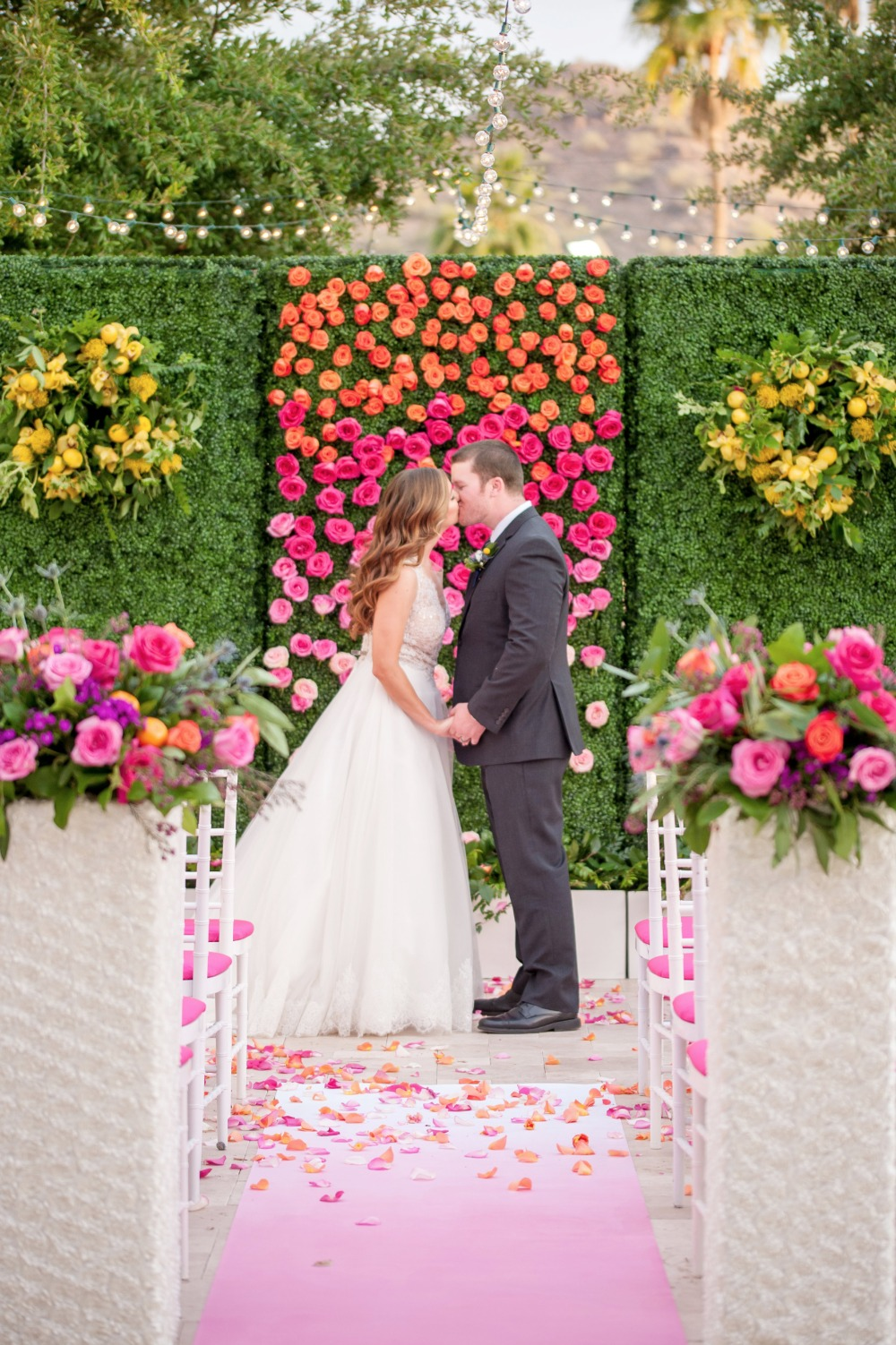 Beautiful ceremony ombre flower backdrop