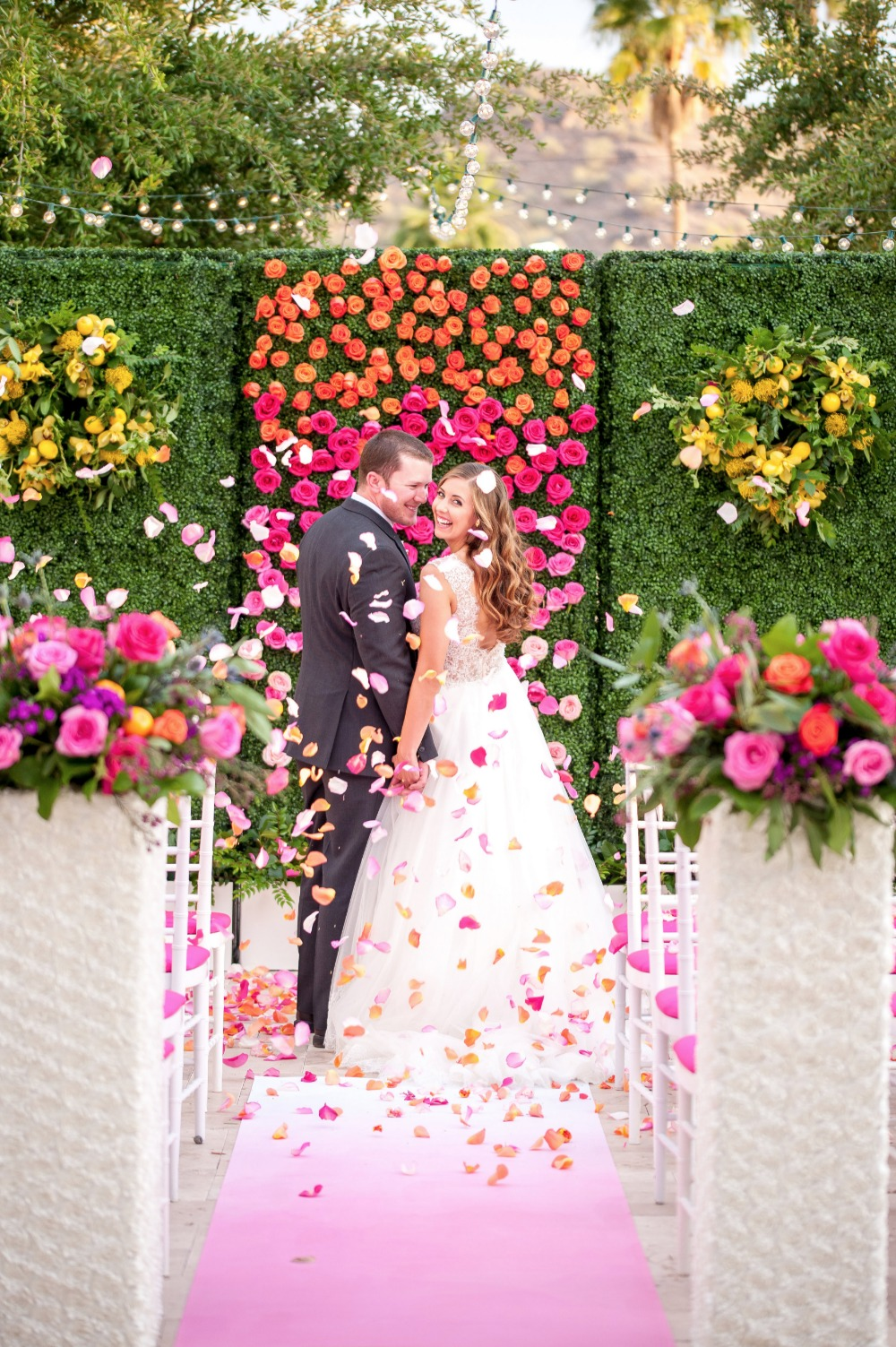 Rose petal toss ceremony