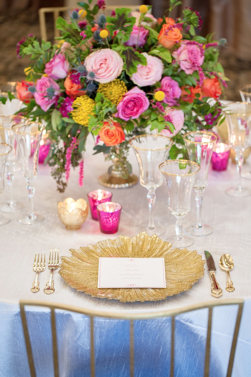 Simple and elegant table decor with gold accents