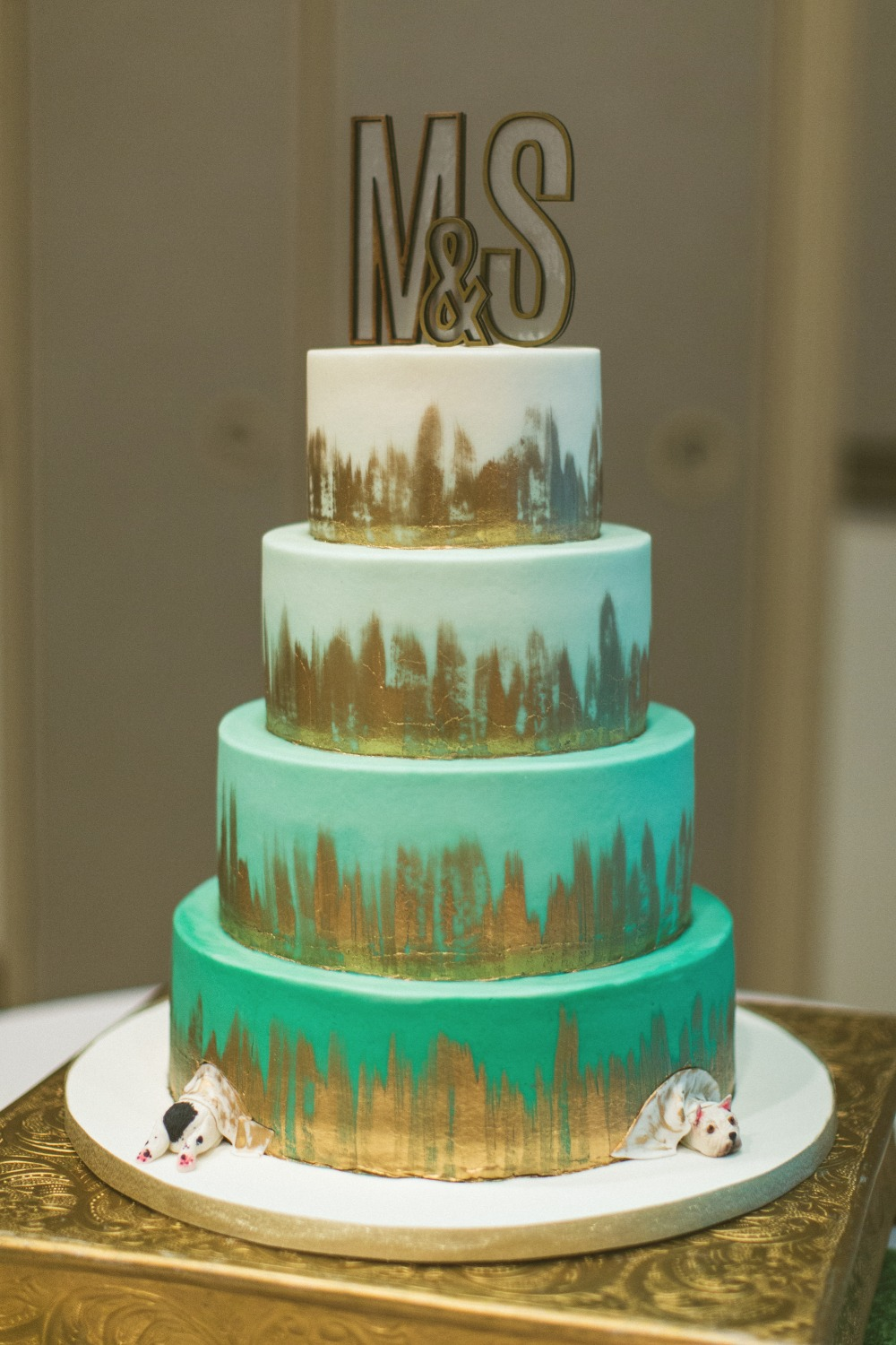 Teal Ombre Wedding Cake