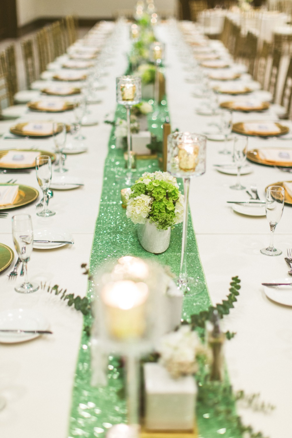 Sparkly teal table runner