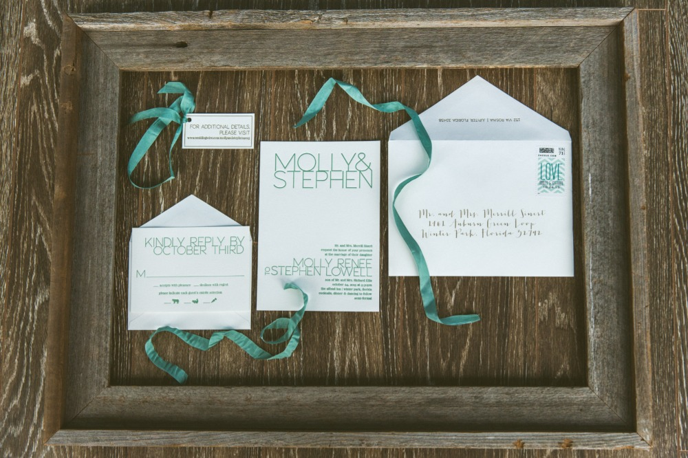 Modern teal invitation suite