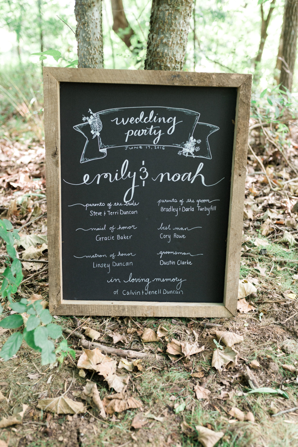 wedding party chalkboard sign