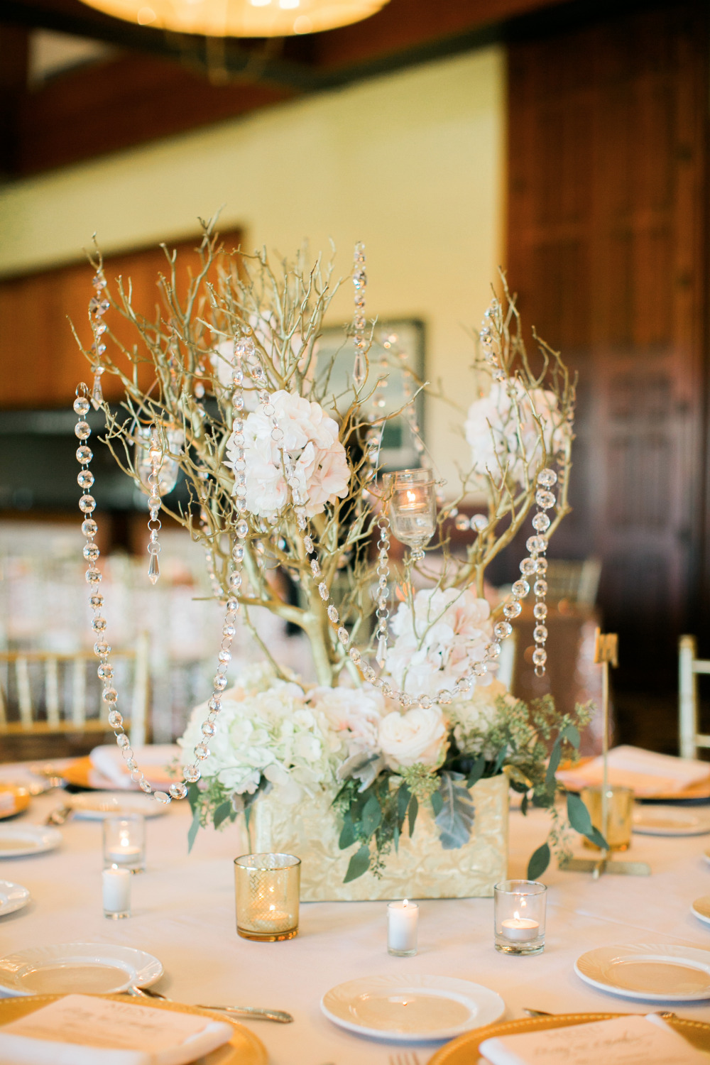 crystal and hydrangea branch centerpiece