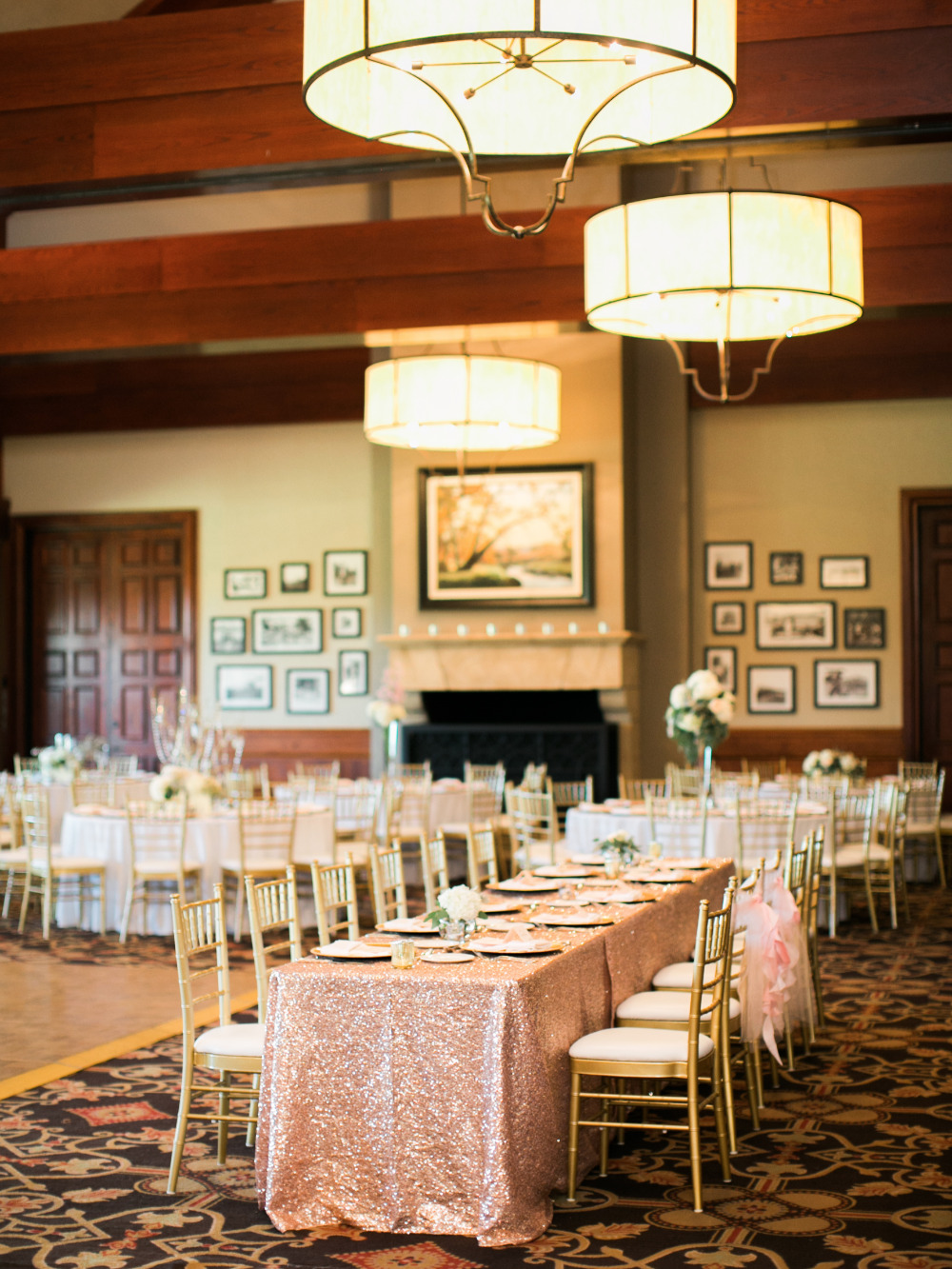 pink and gold wedding reception indoors