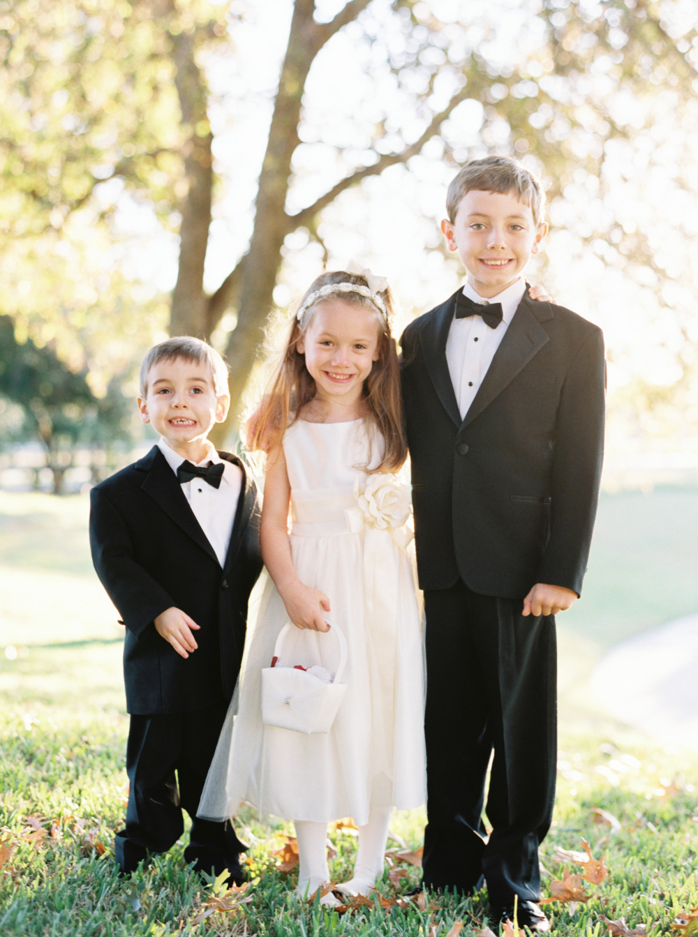 classic black and white flower girl and ring bearers
