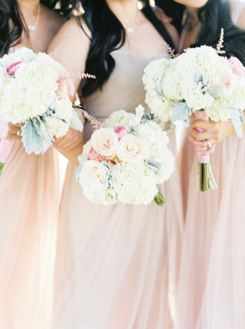 pink and white wedding bridesmaids bouquets
