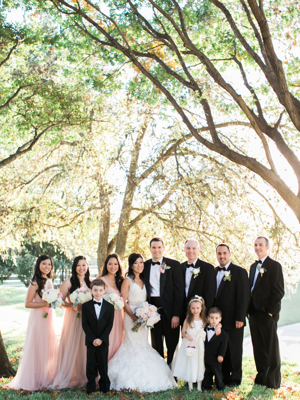 pink and black classic wedding party attire