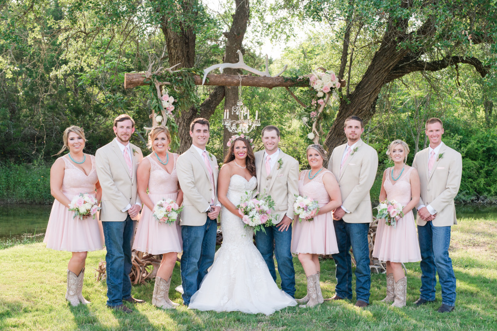 pink and blue wedding party attire