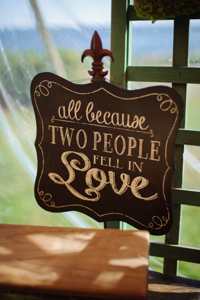 All because two people fell in love wedding sign