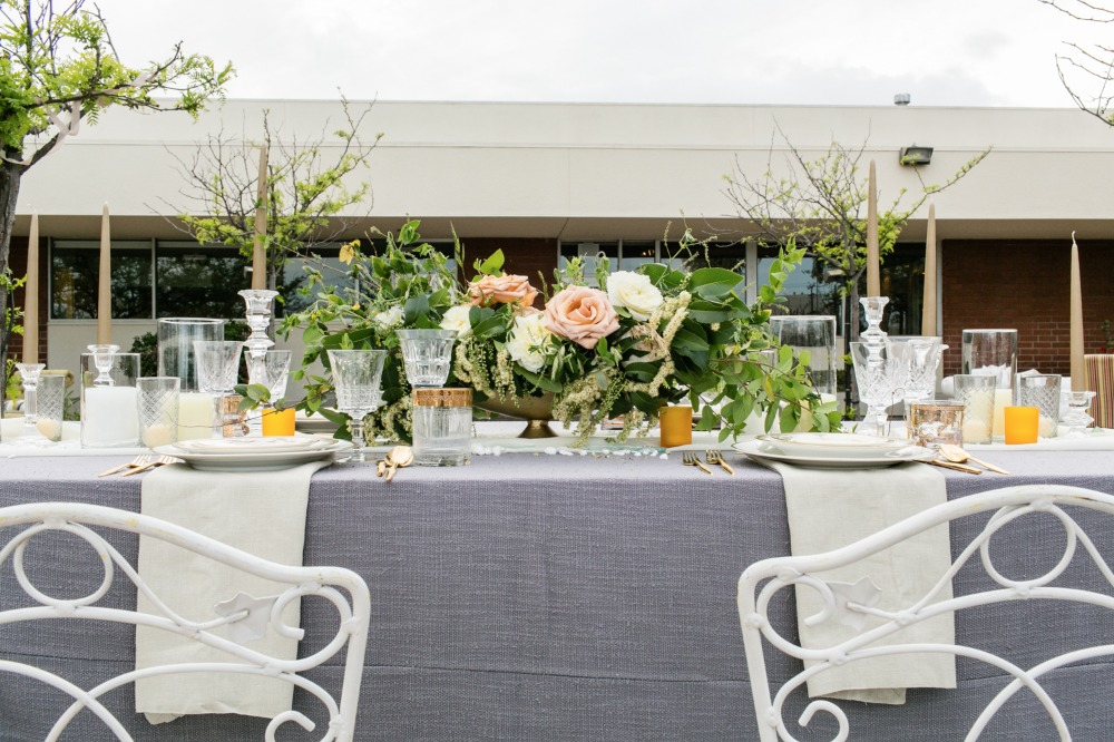 Chic grey and white tablescape