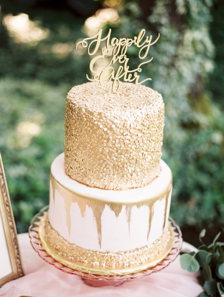 happily ever after wedding cake topper in gold