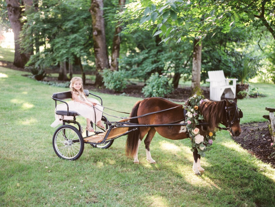 wedding carriage pulled by a flower draped pony