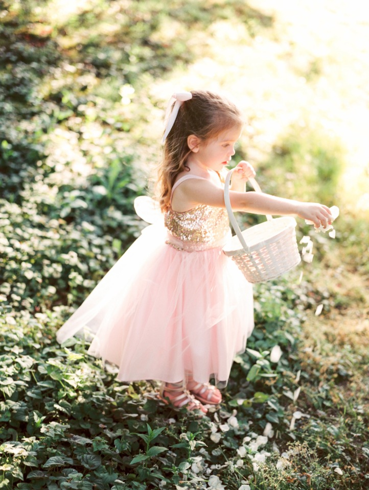 Petite Adele flower girl pink and gold dress