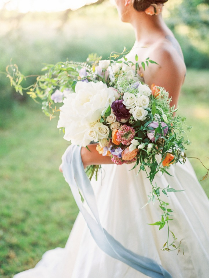 whimsical cascading wedding bouqut