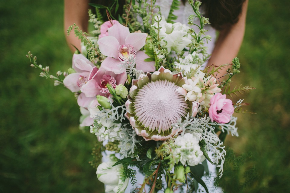 kink protea and other tropical flowers bouquet
