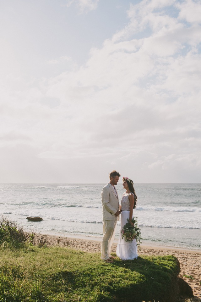 bride and groom all set for a beach wedding