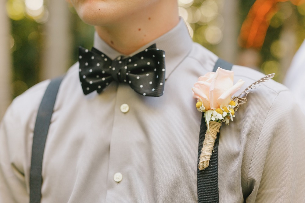 Polka dot bow tie with boutonniere