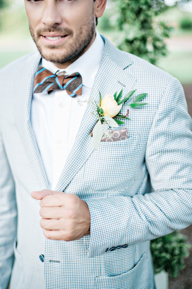 light blue checkered groom jacket