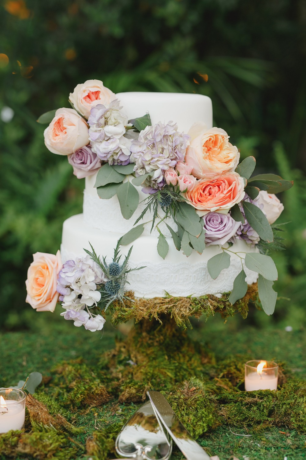 Gorgeous cascading floral cake