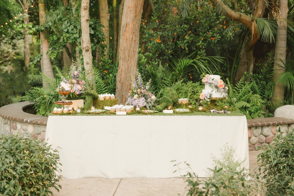 Moss and floral dessert table