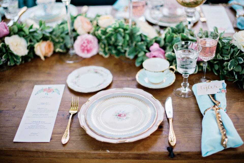 pretty pink and blue wedding china
