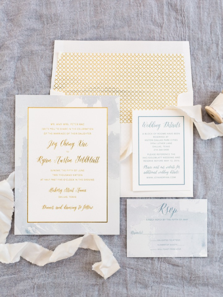 classy grey and gold wedding invites from Invited