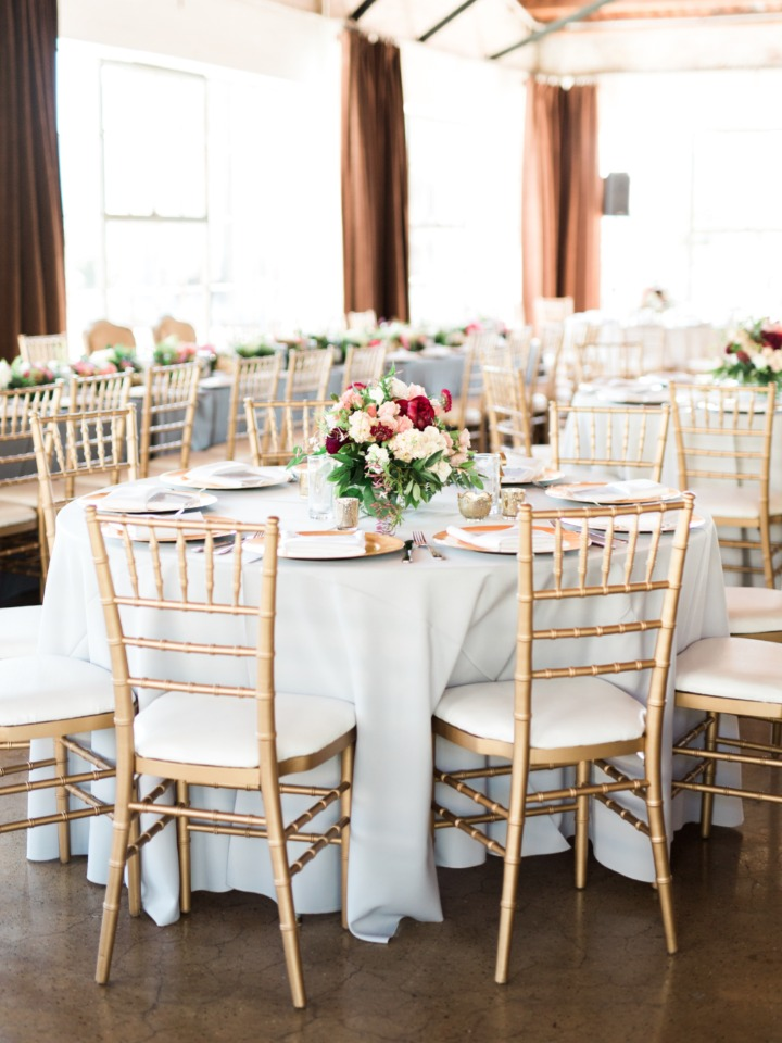 wedding reception decor in blue white and gold
