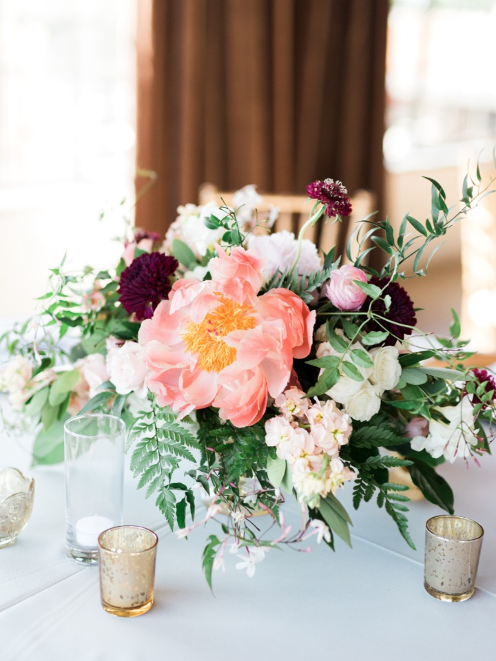 loose and carefree styled centerpiece