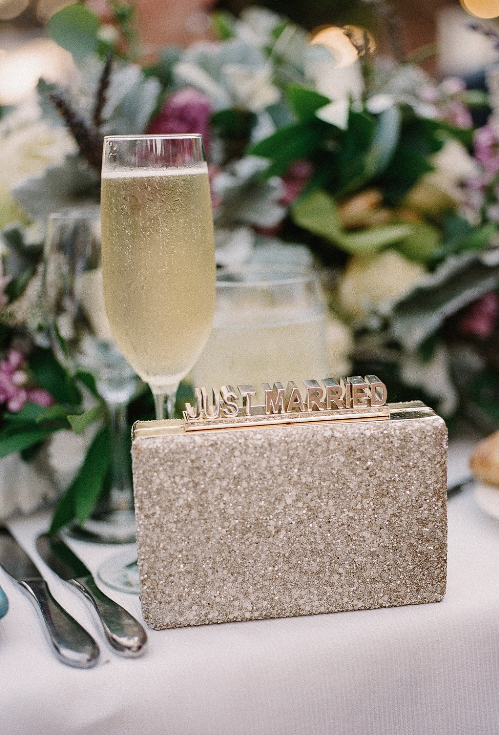 Sparkly gold just married clutch