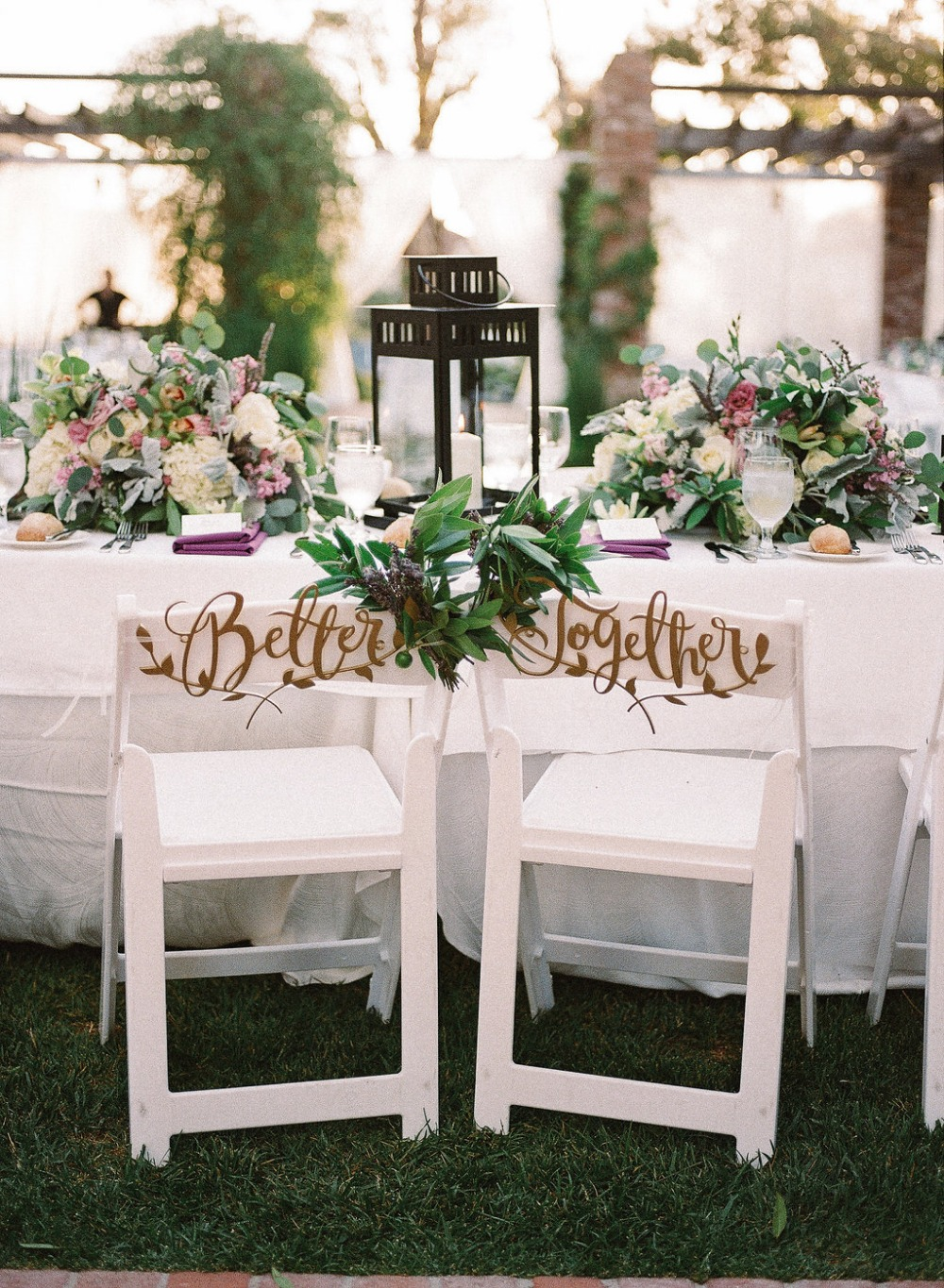 Gold calligraphy chair signs
