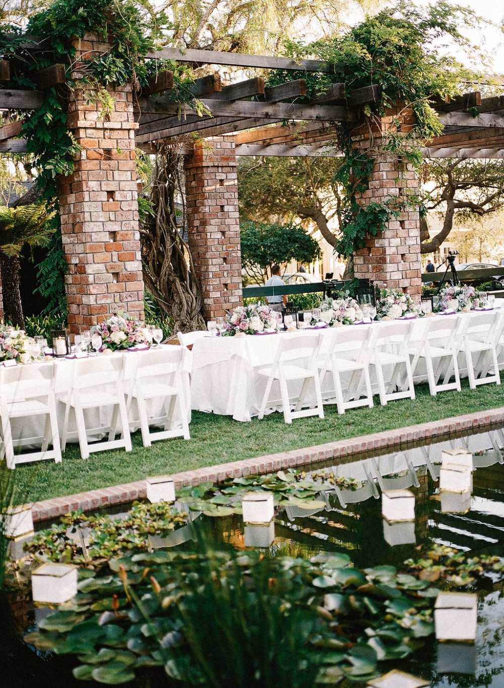 White and purple reception tables