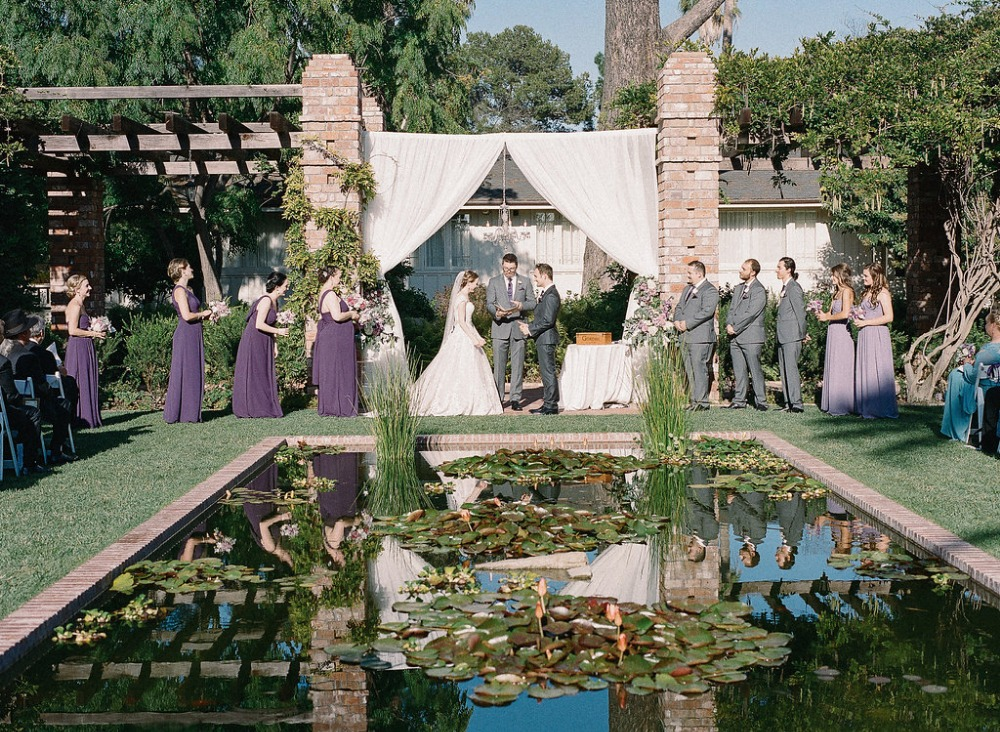 Outdoor lilly pond ceremony