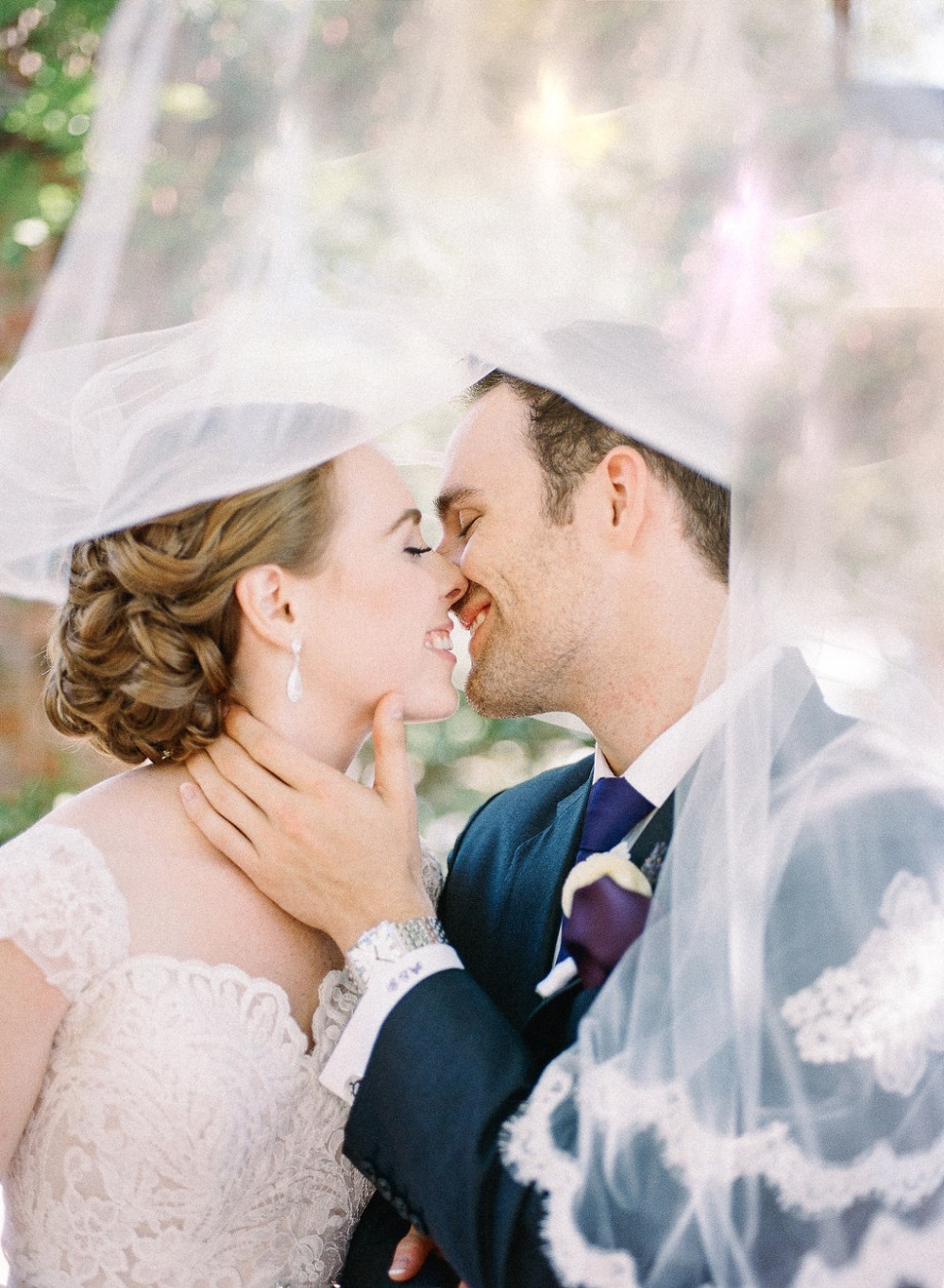 Romantic veil wedding photo