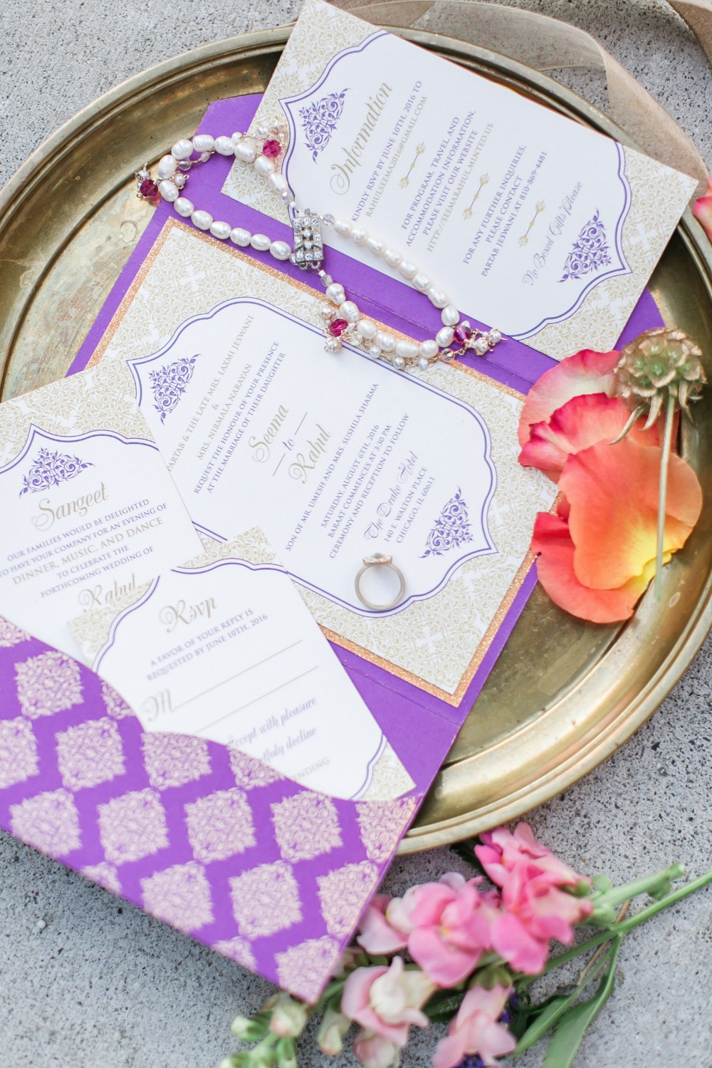 Purple exotic wedding invitation suite
