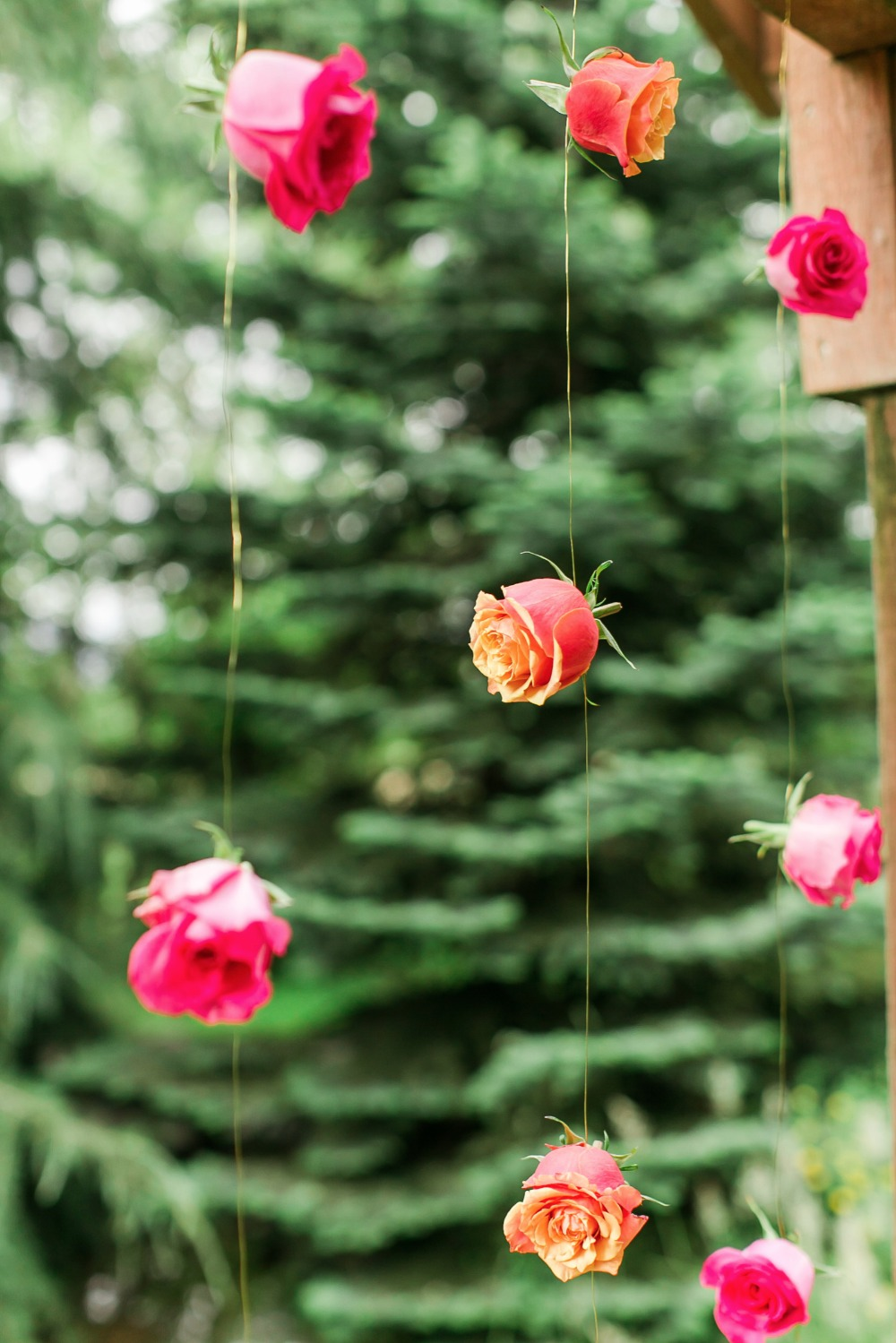 Hanging flower backdrop