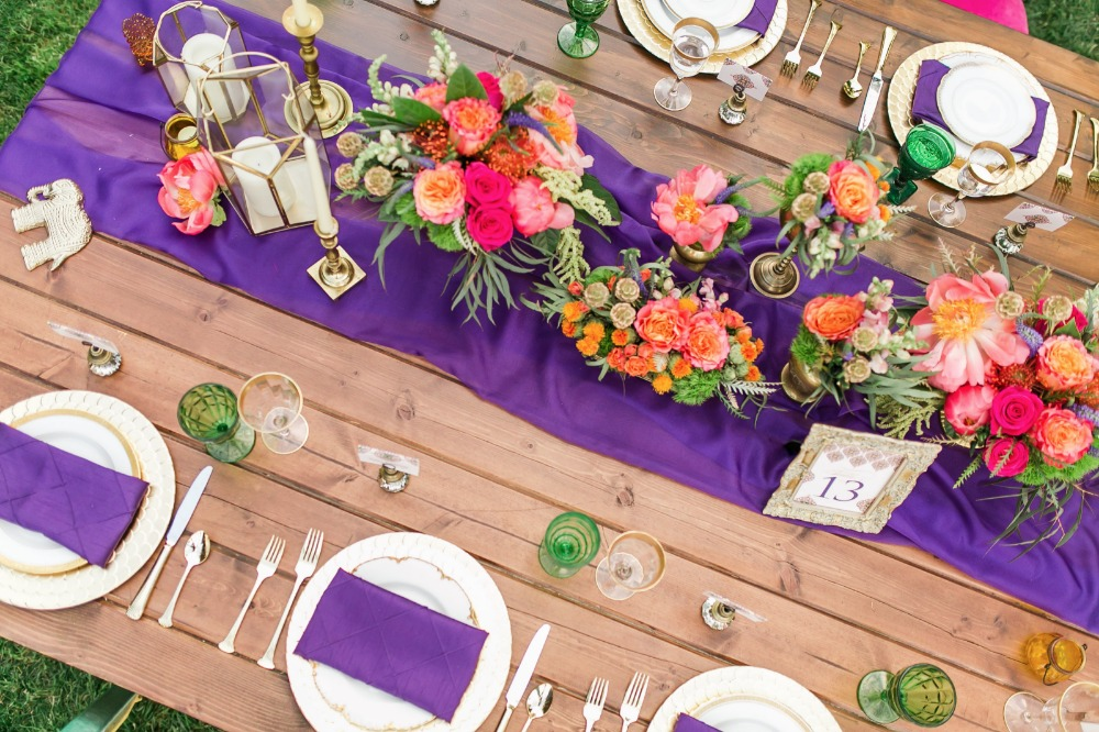 Purple and pink tablescape