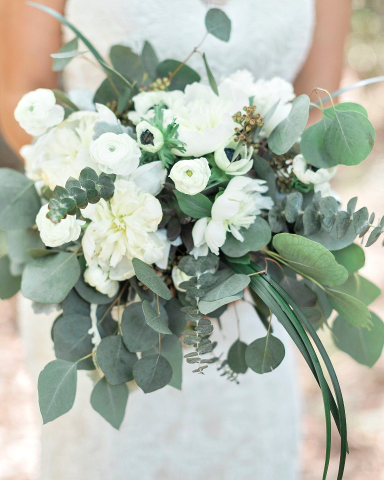 white and green loose styled bouquet