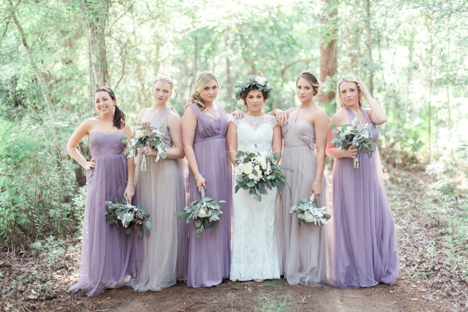 purple and light gray bridesmaid dresses
