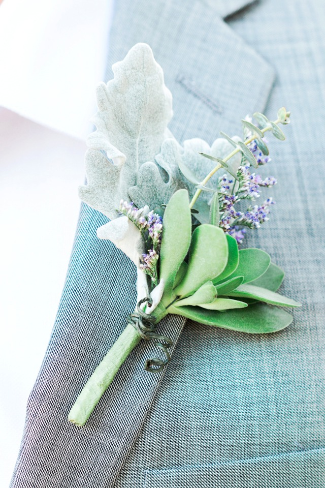 purple gray and green boutonniere