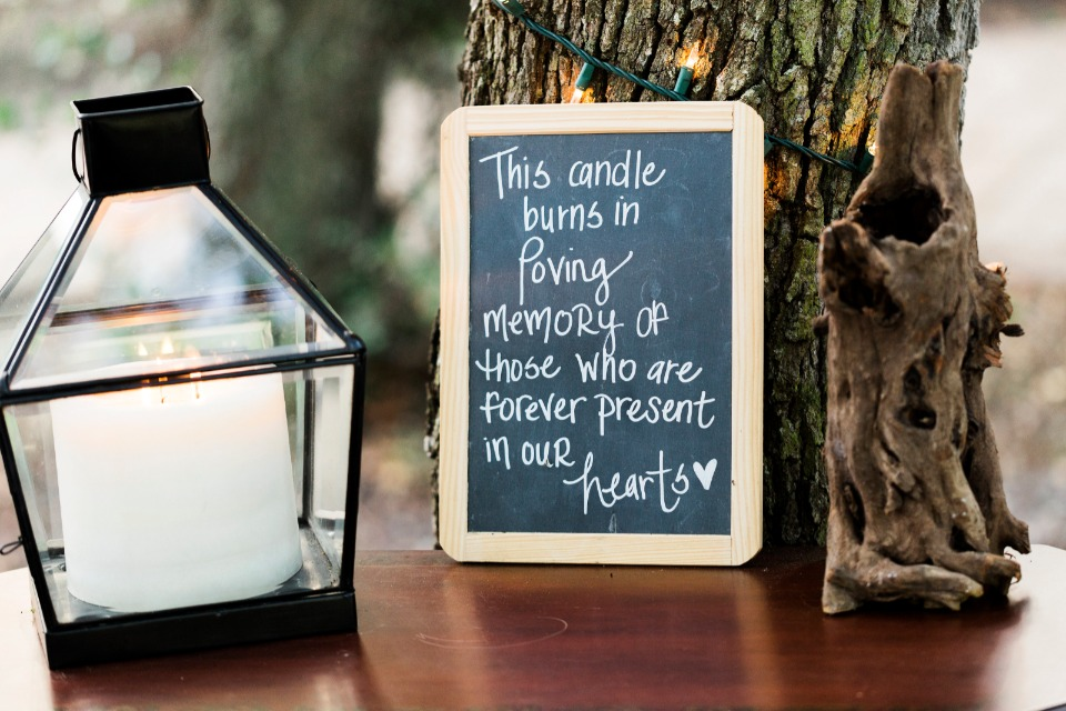 this candle burns in loving memory of those who are forever present in our hearts wedding sign