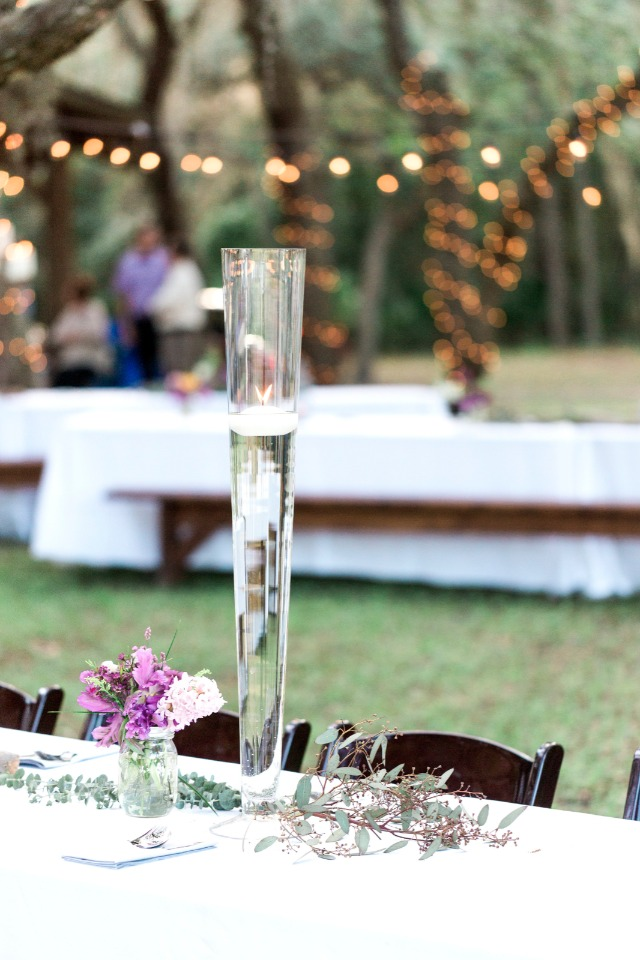 floating candle flute table centerpiece