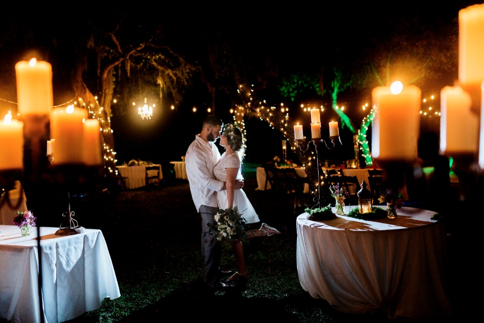romantic candle lit reception
