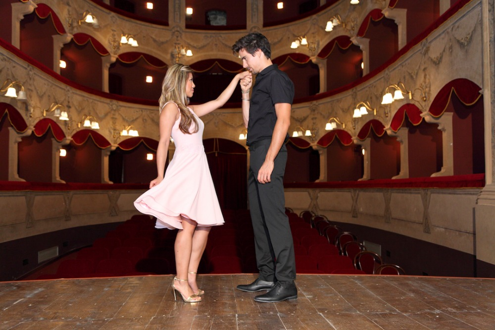 Engagement shoot in a vintage theater