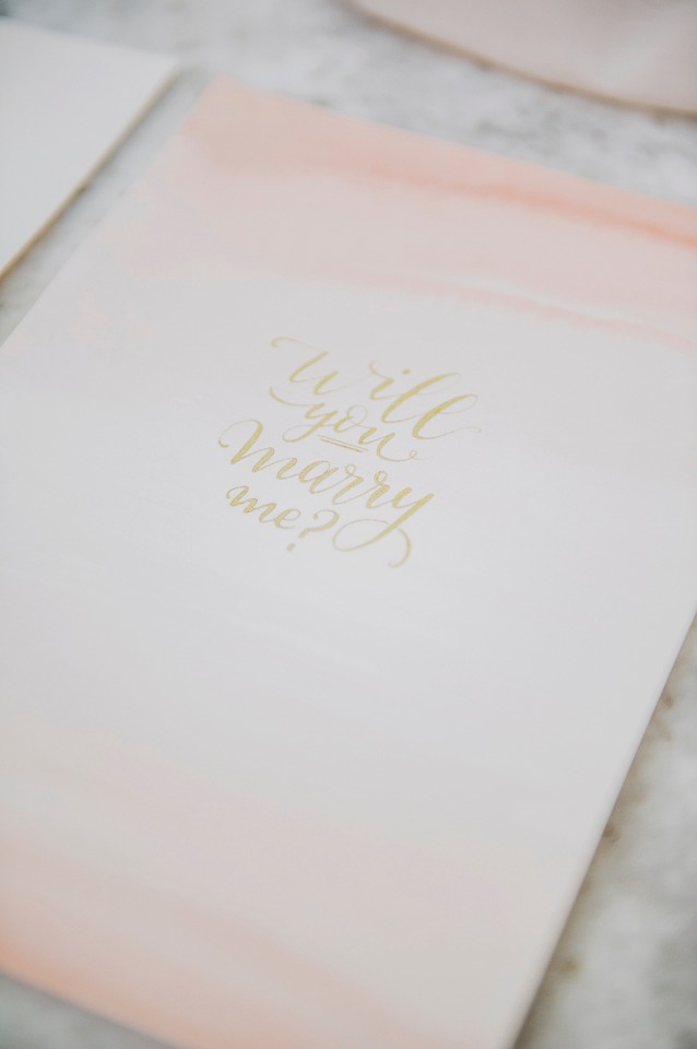 watercolor calligraphy will you marry me stationery
