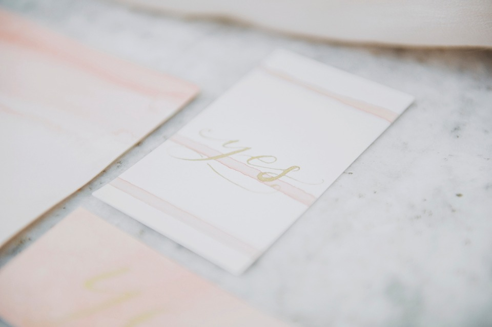 hand calligraphy and watercolor stationery