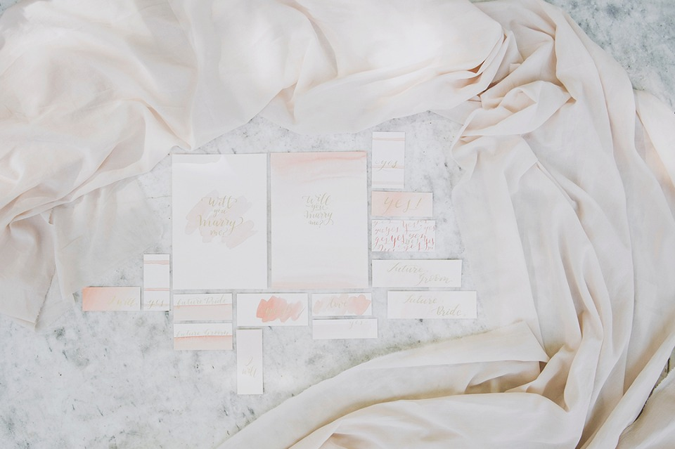 soft peach and gold wedding stationery