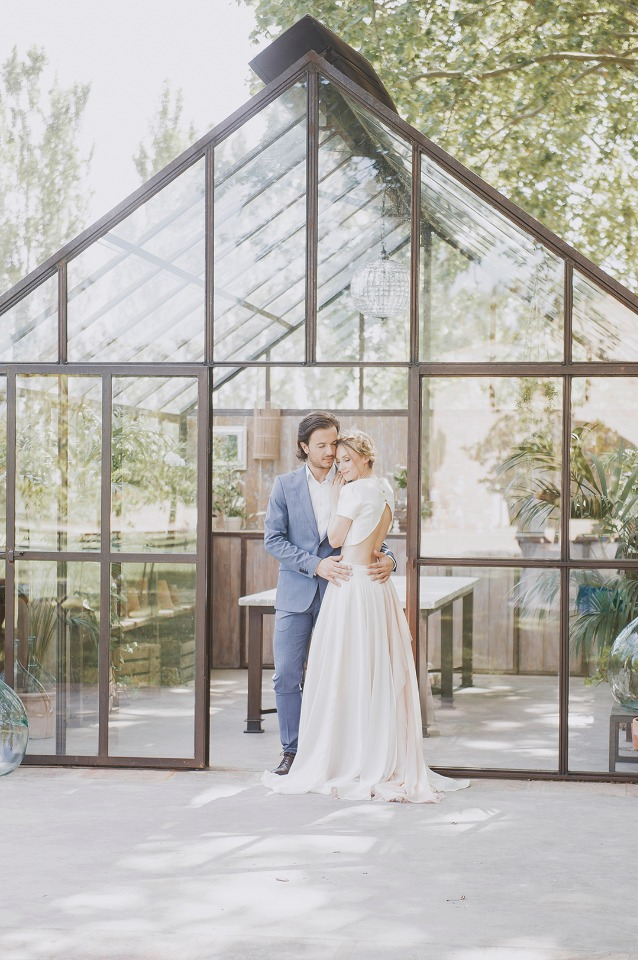 a greenhouse wedding shoot