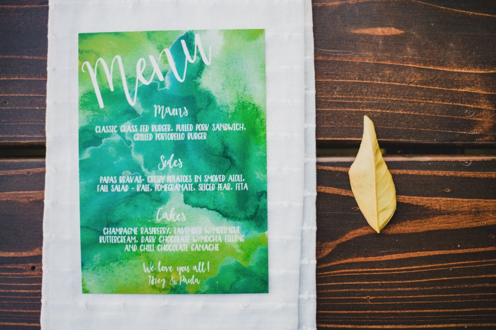 Green and blue watercolor menu
